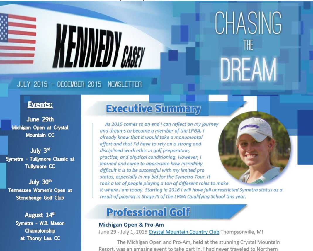 Casey Kennedy S Latest Newsletter From The Symetra Tour